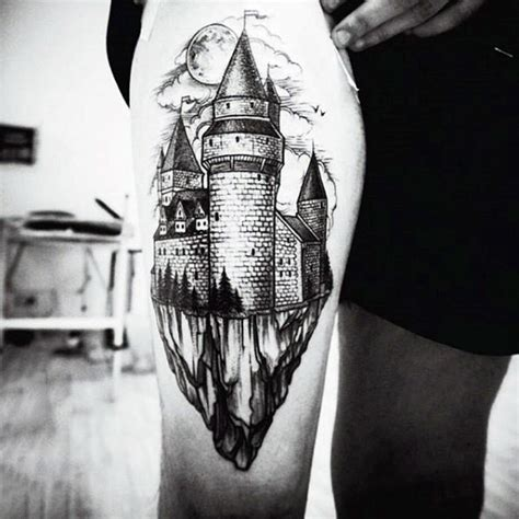 castle tattoos  men masculine fortress designs