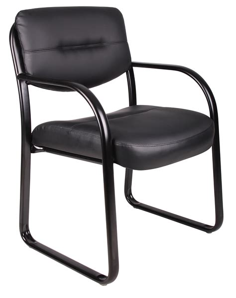 leather sled base guest chair with arms b9529