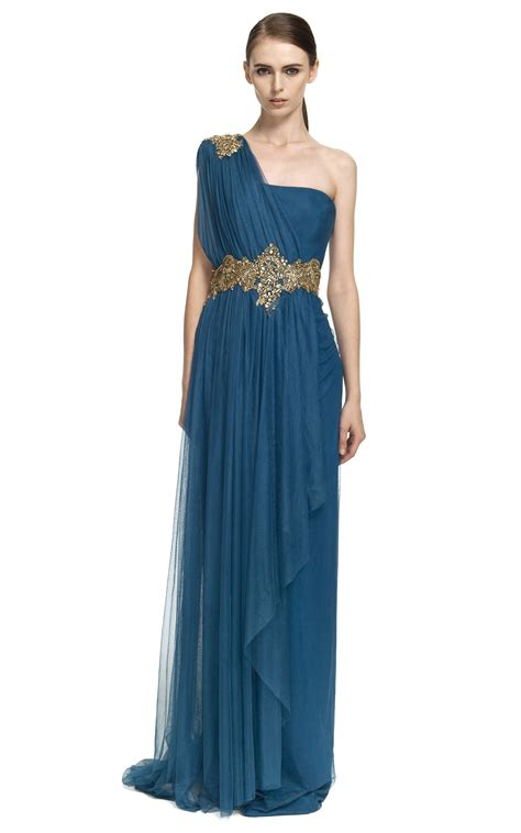 One-Shoulder Georgette Gown With Tulle Overlay   Greek ...