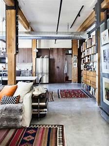 mille et une idees pour le salon style industriel en 44 With tapis d entrée avec coloration canapé cuir