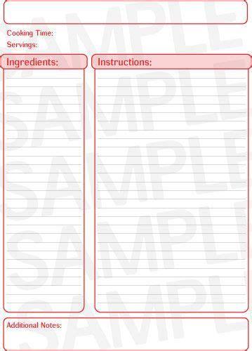 blank recipe pages    good   recipe binder