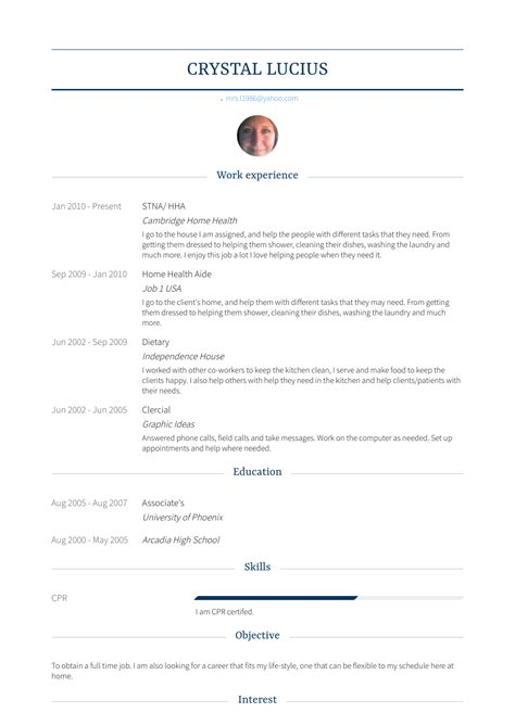 Hha Resume by Hha Resume Sles Templates Visualcv