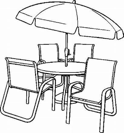 Table Coloring Chairs Pages Dining Chair Drawing