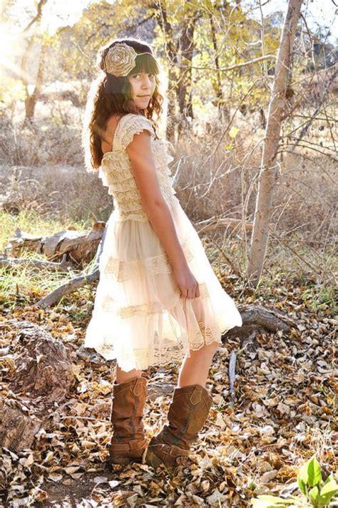 rustic flower girl dress champagne flower girl dress