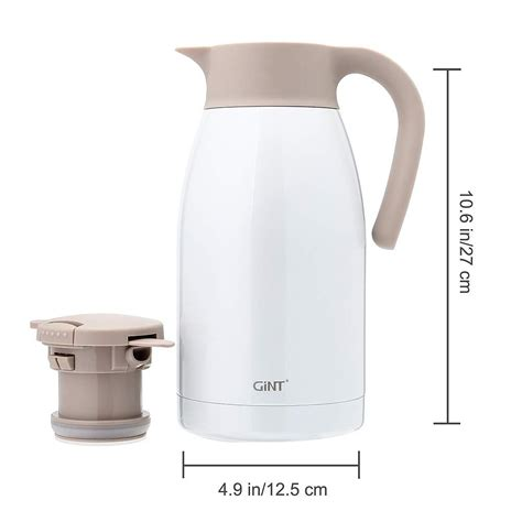 It has a stainless steel body and can store up to 51 ounces of coffee. GiNT Stainless Steel Thermal Coffee Carafe with Lid/Double Walled Vacuum Thermos / 12 Hour Heat ...