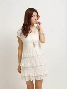 Summer Romantic Layered Lace Short Sleeve White Dress