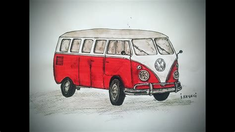 volkswagen old van drawing volkswagen classic van timelapse drawing youtube