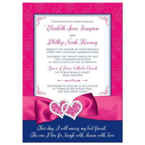 wedding invitation royal blue pink white floral