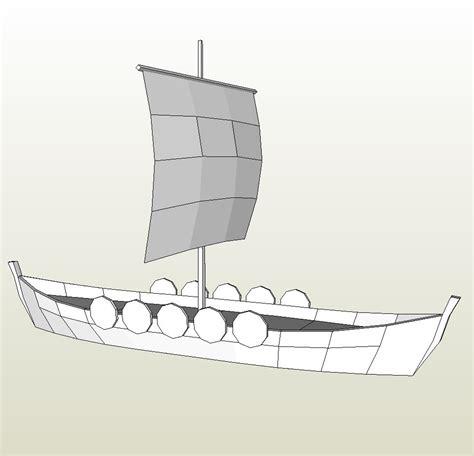 papercraft pdo file template  ship viking longboat