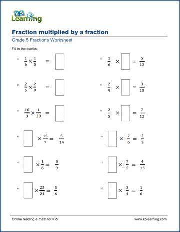 grade  math worksheets multiplying fractions missing