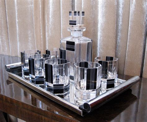 art deco czech whiskey decanter set sold items