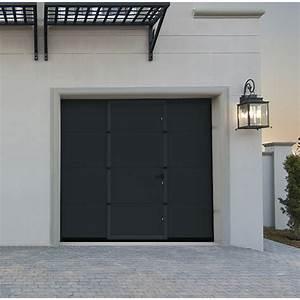 porte de garage sectionnelle avec portillon lisse grise With porte garage grise