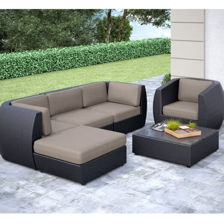 Furniture Sale by Corliving Seattle Curved 6 Sofa With Chaise Lounge