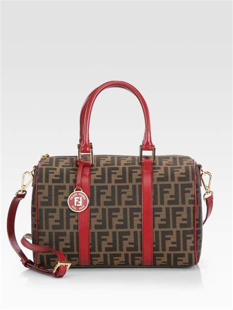 Fendi Chef Zucca Jacquard Boston Bag in Red (Brown) - Lyst