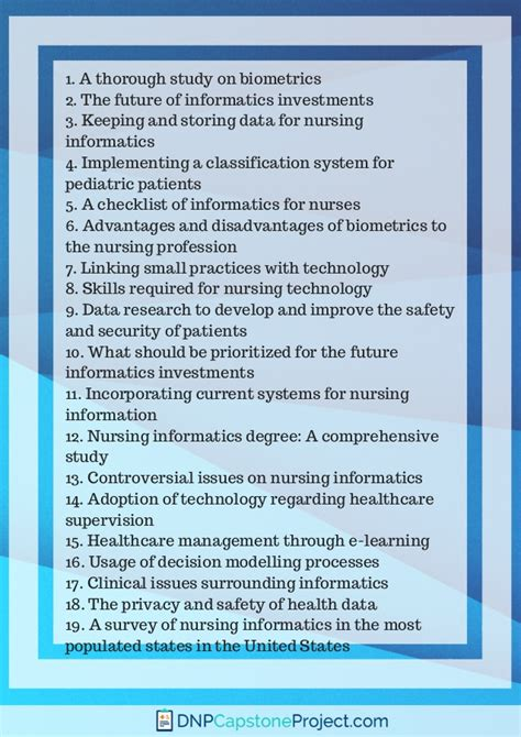 eye catchy nursing informatics capstone project ideas