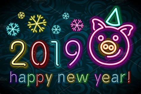 Cute Pig Neon, Happy New Year 2019 By Rommeo79 On