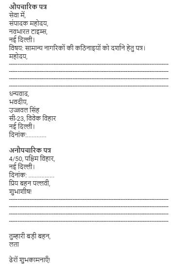 cbse format  formal letter writing  hindi