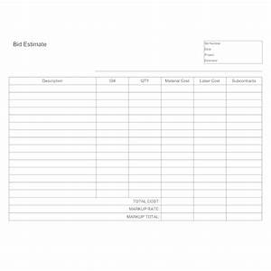 Silent Auction Bid Sheets Free Bid Estimate Template