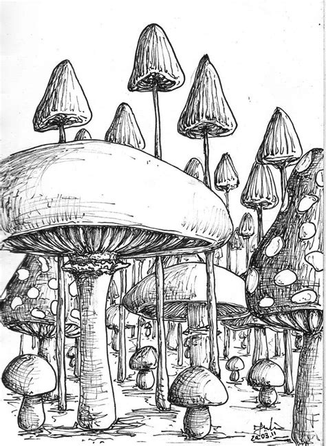 39+ Trippy Mushroom Drawing Easy