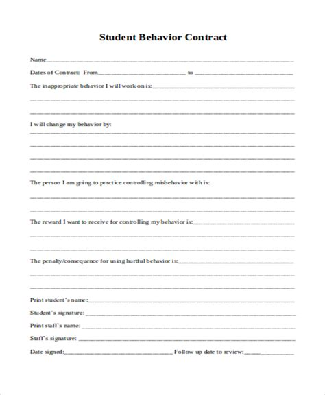 Student Contract Template by 11 Student Contract Templates Word Pdf Free