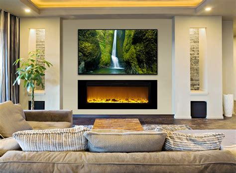 ideas for tv fireplace best 25 recessed electric fireplace ideas on