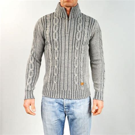 pull homme col montant pull homme torsad 233 col montant gris gg