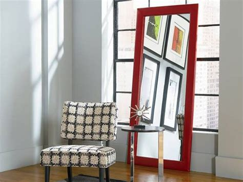 Delaney Red Leaning Mirror   CORT.com