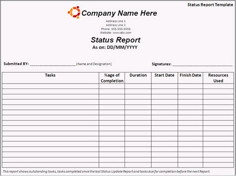 images  status report template word daily
