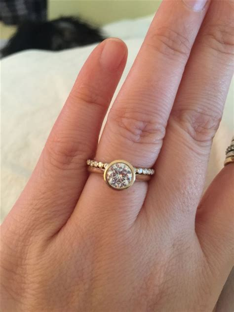 wide band bezel set engagement ring engagement ring usa