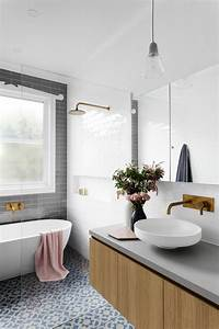 Gray, Subway, Tiling, In, A, Serene, Pink, U0026, White, Bathroom