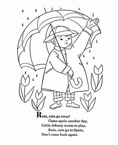 Rain Away Coloring Nursery Pages Rhymes Rhyme