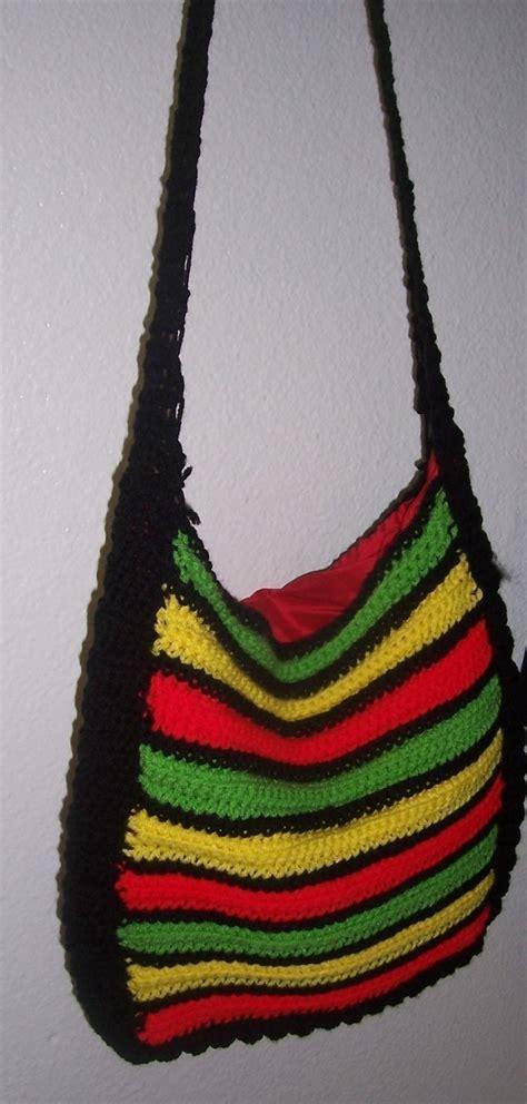 rasta crocheted purse  knit  crochet tote crochet
