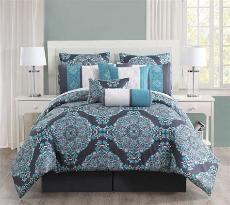 10 pc grey teal blue floral embroidery queen comforter set
