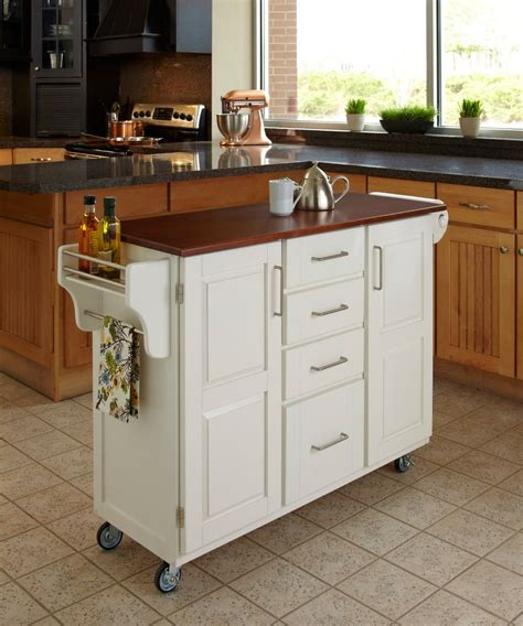 Home Styles Kitchen Island With Two Stools  White  The