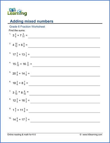 grade  addition  subtraction  fractions worksheets
