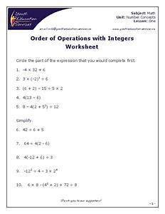 Order Of Operations With Integers Worksheet For 7th