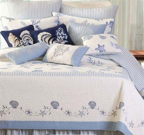 Coastal Coverlet by Treasures By The Sea Quilt Set Blue White