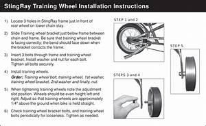 Schwinn String Ray Training Wheels Supplemental Owners