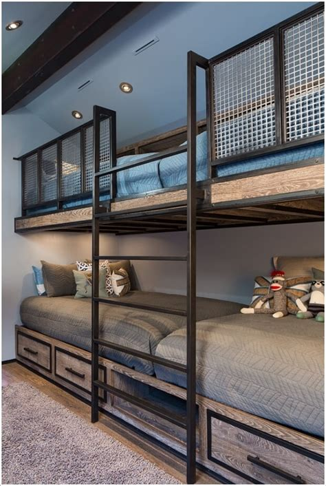 white metal loft bed 10 cool built in bunk bed rail ideas