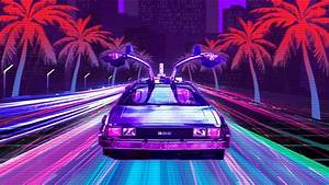 Retro Lux Cars Retrowave 4k, HD Cars, 4k Wallpapers