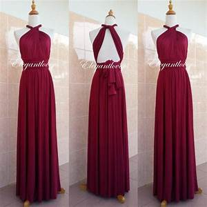 Convertible dress maroon wedding dress bridesmaid dress for Maroon dresses for wedding