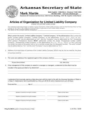 llc articles of organization fillable arkansas articles of organization for domestic limited liability company llc fax