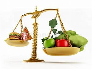 Healthy Food And Junk Food In Scales Of A Balanced Scale ...