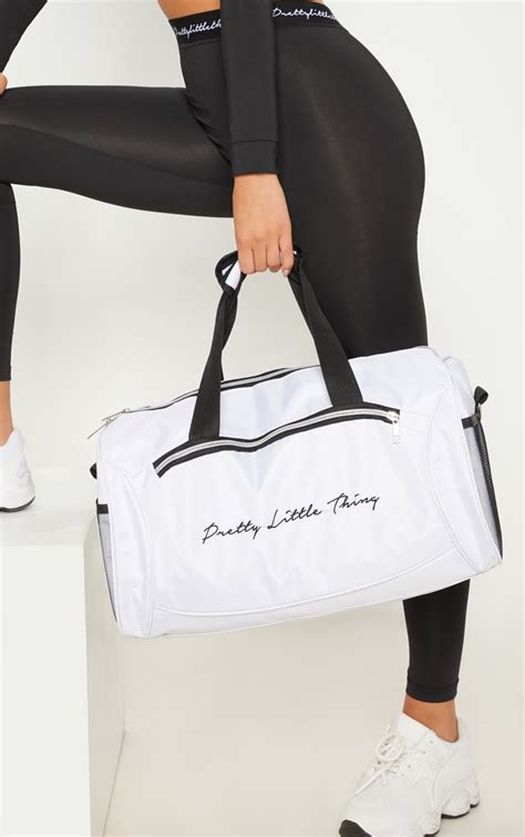 PRETTYLITTLETHING White Logo Duffle Bag   PrettyLittleThing