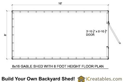 8x16 shed floor plan 8x16 gambrel shed plans icreatables