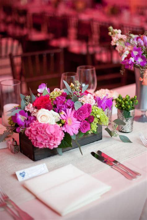 wooden flower box centerpiece  silver accent vases