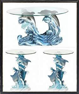 This exquisite glass top coffee end table features a design of a pair of dolphins jumping out of the ocean. Amazon.com: DOLPHINS GLASS TOP COFFEE TABLE AND END TABLES: Kitchen & Dining