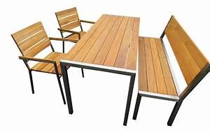 Tisch Und Bank : design edelstahl gartenm bel teak tisch 2 st hle und bank edelstahlfiguren ~ Eleganceandgraceweddings.com Haus und Dekorationen