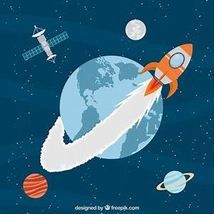 Rocket traveling around the earth Vector | Premium Download