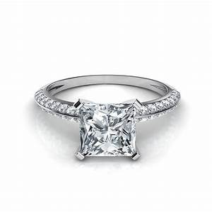 Knife edge pave princess cut engagement ring for Pave wedding rings